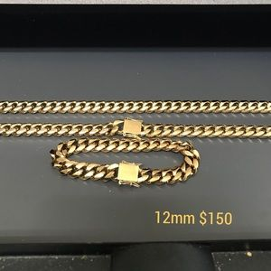 Other - MIAMI CUBAN LINK MENS CHAIN 2 PIECE SET